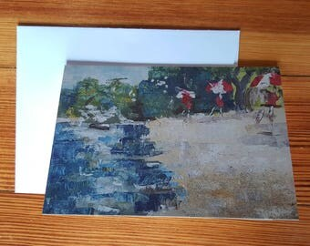 4.25 inch x 5.5 inch greeting card, original oil painting with beach landscape, Arlington, MA