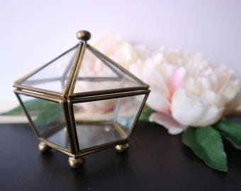 Vintage Geometric Glass Brass Box - Trinket Box, Ring Box, Small Jewelry Box, Crystal Display, Glass Display, Boho, Bohemian Decor