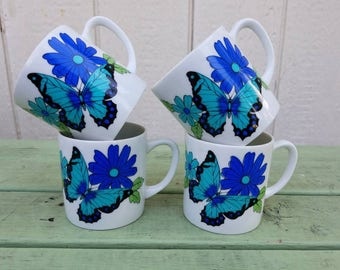 Beautiful vintage butterfly and flower coffee cup set