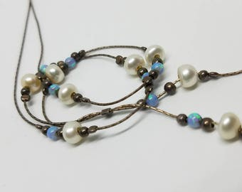 Vibrant opal and pearl sterling lariat or Y necklace