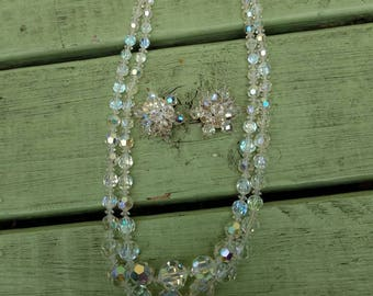 Austrian Aurora Borealis AB necklace and earring set
