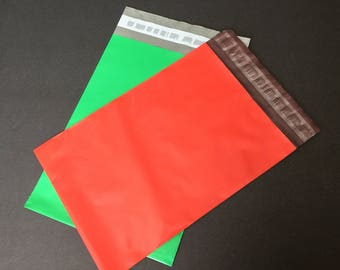 100  7.5 x 10.5 RED and GREEN Poly Mailers 50 Each  Self Sealing Envelopes Shipping Bags Christmas