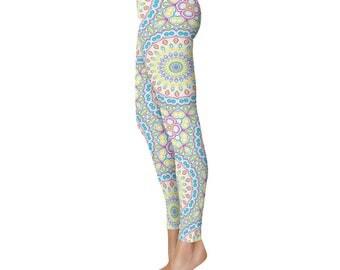 Colorful Leggings - Spring Leggings, Fun Leggings, Blue and Yellow Yoga Pants, Multicolor Mandala Pattern Fashion Tights