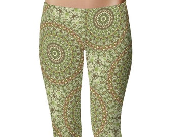 Camouflage Green and Brown Printed Leggings, Camo Leggings, Festival Leggings, Yoga Pants Womens Stretch Pants, Yoga Tights