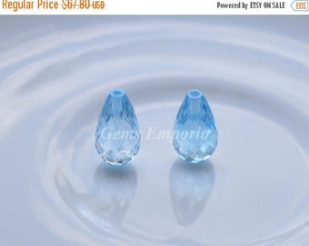 ON SALE Natural Sky Blue Topaz Tear Drops Size 12x7 MM, Top Half Drilled, Fine Quality. Sold per pair.