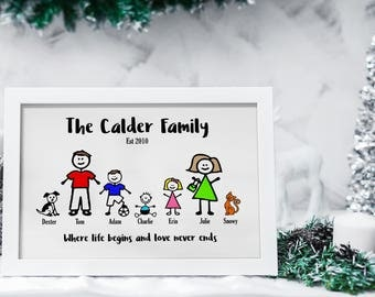 Personalised stick family print, personalised family print, personalised stick figure print, wedding gift, family gift, gifts for family