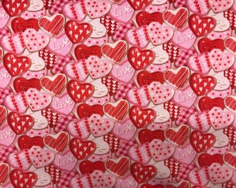 red heart valentines day iced cookies fabric novelty fabric valentine fabric valentines day