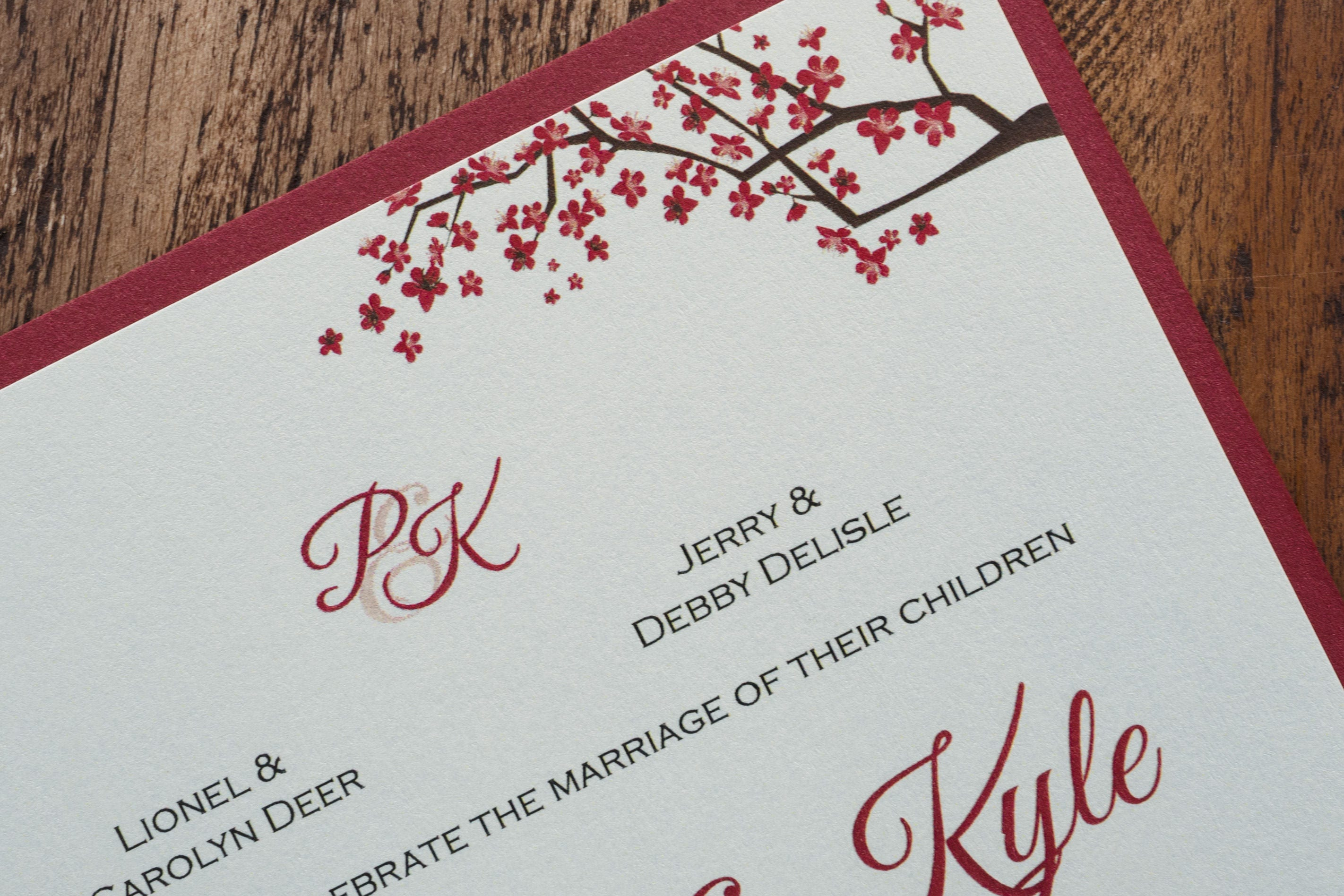 Red Invitation, Red Invitations, Red and white Wedding Invitation ...