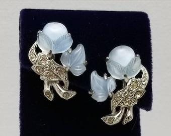 Baby Blue Molded Glass Earrings