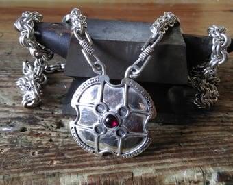 medieval pendant silver garnet Viking Werewolf