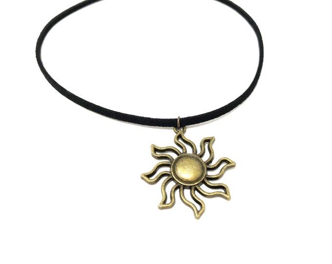 SOL: antique bronze faux suede sun choker