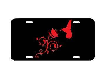 Humming bird flower license plate, front car license plate, cute car tag, hummingbird girly car accessory, vanity plate, nature, bird vine