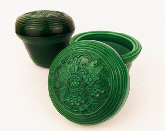 Vintage Set of Two Malachite Glass Curt Schlevogt Styled Doses, Boxes