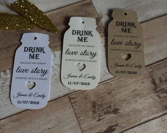 Personalised Rustic Wedding Favour Tags- Mason jar Drink me because...