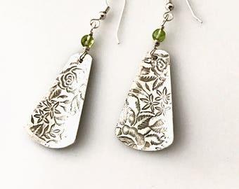 Elegant Roll Printed Sterling Silver Earrings with Delicate Prehnite Beads; Handcrafted Dangle Earrings