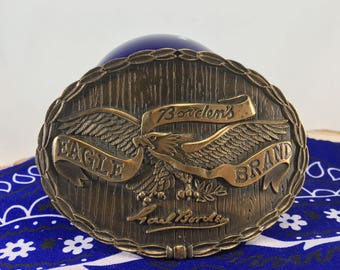 Vintage Bronze Belt Buckle Borden's Eagle Brand Milk, Carl Borden, 1970's Belt Buckle, Vintage Clothing, Men's Belt Buckles
