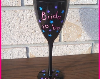 Personalised Black Bride To Be Wine Glass
