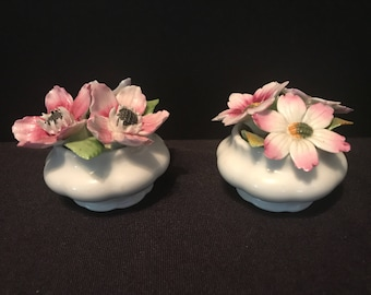 Vintage Royal Albert Set of 2 Flower of The Month - Anemones and Cosmos