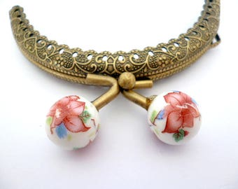 """Bronze Purse Frame _AT03662478/6927_Frames_ Brass purse / Coral flowers of 85 mm / 3,34"""" _ pack 1 pcs"""