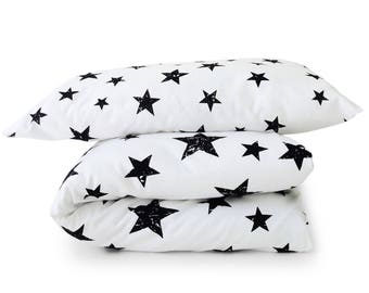 Toddler Duvet Covers, Crib Duvet Cover, Toddler Bedding Set, Baby Blanket, Star Baby Shower, Black White Duvet Cover, Nursery, Kid Bedding