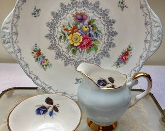 Exquisite Baby Blue Vintage Tuscan Creamer and Sugar Bowl