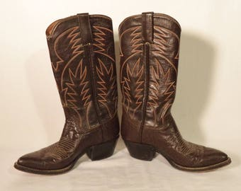 Vintage cowboy boots// Brown and orange leather western bohemian// Size 4.5 or women's 6.5 USA