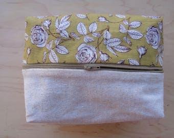 Yellow Rose Box Pouch// Pretty Floral Makeup Box Pouch