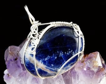 Sterling Silver wire wrapped pendant with Sodalite (without chain) / wire wrapped /