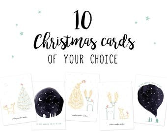 Set of 10 Christmas cards of your choice, pick ten xmas cards pack, choose holiday cards set, seasons greeting cards, pick n mix christmas