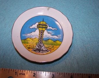 Vintage Dessert Mountain Lookout Where is it? Souvenir plate Made in Japan