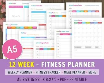 12 Week Fitness Planner Printable, Fitness Journal, Weight Loss Journal, A5 Fitness Tracker, Weight Loss Planner, Fitness Planner Printable