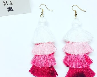 Pink long fringe tassle earrings
