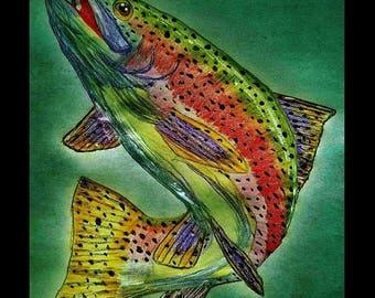 SALE RAINBOW TROUT River Lake Stream Fish Fishing Wildlife Nature Cabin Lodge Home Decor Print By Scott D Van Osdol 11x17 Poster Of My Origi