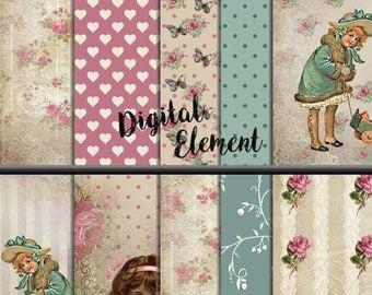 ON SALE Digital Paper, Scrapbook Paper, Digita Florall Vintage Background , Pink Shabby Digital Paper, Shabby Chic Scrapbook Paper. No. P157