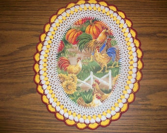 New Handmade Crochet Oval Doily/Roosters & Hens/Chickens/Sunflowers and Pumpkins/Kitchen and Fall Decorations