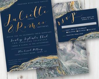 Rustic Blue Wedding Invitation, Geode Wedding Invitation, Agate, Gold and Navy DIY Wedding Suite, Printable Wedding Invite