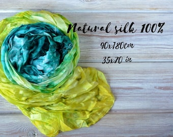 Lime green scarf, green silk scarf, emerald scarf, mum birthday, mum gift, wife birthday gift, women scarf handmade, scarf hand painted sale
