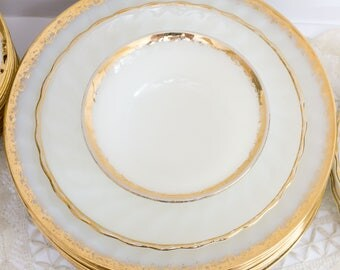 Vintage White Milk Glass Swirl Golden Anniversary Anchor Hocking Fire King Plates and Bowls