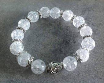Please Bracelet energized, well-being, spirituality, purity, meditation zen Buddha bead 10mm cracked rock crystal