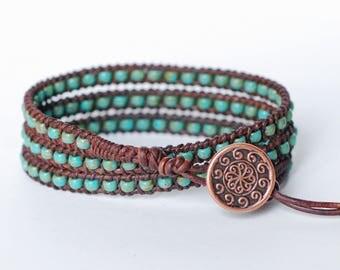 Turquoise Beaded Bracelet, Leather Wrap Bracelet, Triple Wrap, Beaded Wrap Bracelet, Beaded Triple Wrap Bracelet