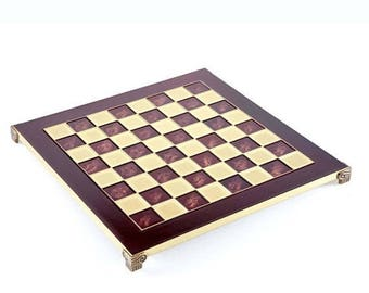 """For Sale Brass & Red Chess Board - 1.75"""" Squares - Without Pawns"""