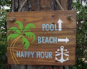 Beach directional sign | Beach arrow sign | Custom beach directional sign | Custom beach decor | Nautical sign | Happy hour sign