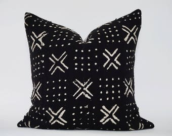 18x18 MUDCLOTH BLACK PILLOW Cover African White pattern mud cloth Authentic