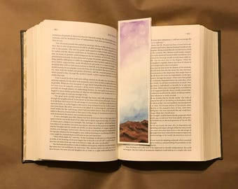 Original Handpainted Bookmark Purple Sky Watercolor Painting on Watercolor Paper - Laminated