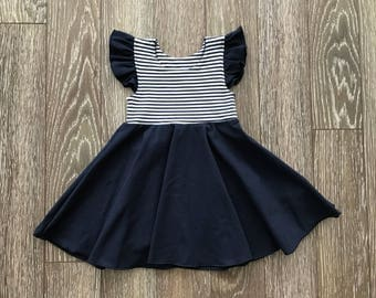 Ruffle, Cotton/spandex dress striped Navy and white