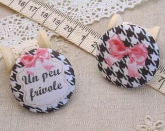 x 2 buttons 19mm fabric a little frivolous ref A20