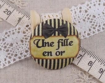 x 1 19mm fabric button a ref A13 golden girl