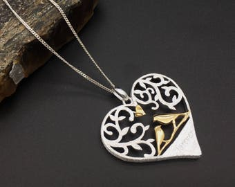 Sterling silver gold plated heart shaped love birds necklace