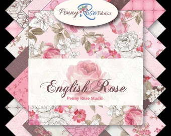 "NEW!  English Rose by Penny Rose Studio - Beautiful pinks and browns and roses! - Charm pack - 5"" stacker (42 pcs) 5"" squares"