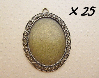 support cabochon pendant-25 30x40mm bronze to cab. oval - L259920